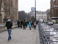 Walking Tourists To Houses Of Parliament