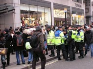 Police And Students In Oxford Street