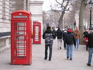 Tourist Walking Near Red Phone Box
