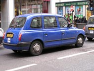 Black Cab Taxi in Blue