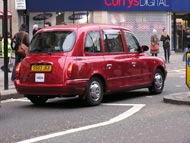 Black Cab Taxi In Red Variation