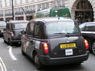 London Black Cab Taxi Pictures - in Traffic Jam